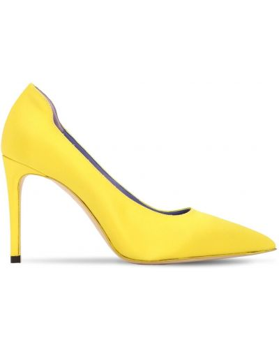 Satynowe czółenka - żółte Victoria Beckham