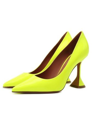 Желтые кожаные туфли Amina Muaddi