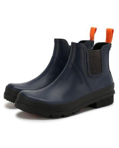 Синие ботинки челси на каблуке со вставками Swims