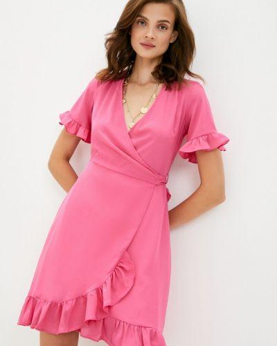 Розовое платье с запахом Trendyol