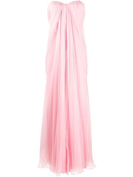 Шелковое плиссированное розовое платье с драпировкой Alexander Mcqueen