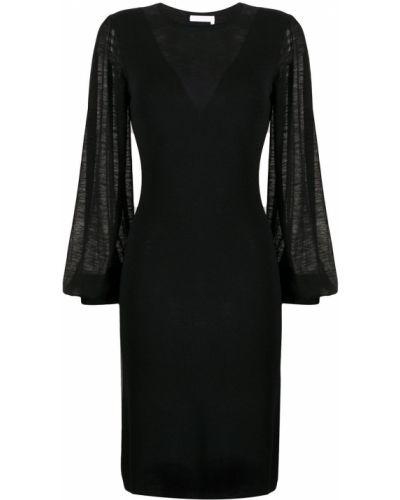 Черное платье миди с манжетами с вырезом узкого кроя See By Chloé