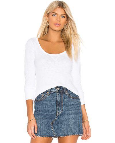 Bawełna bawełna biały t-shirt z długimi rękawami zabytkowe Bobi