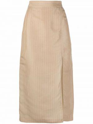 Lniana długa spódnica - beżowa 12 Storeez