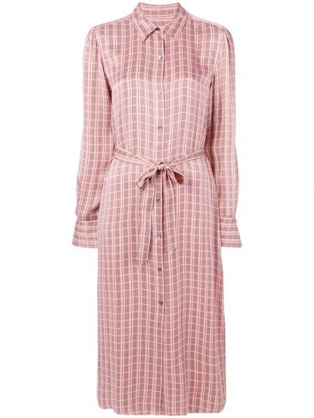 Платье с поясом розовое на пуговицах Equipment