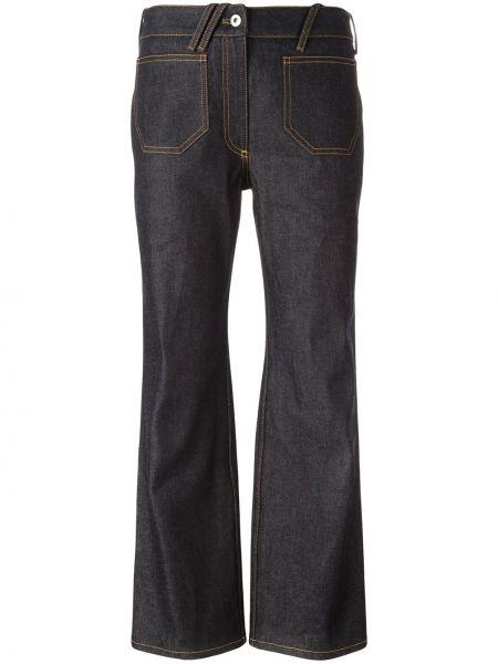 Расклешенные укороченные джинсы в стиле бохо Courrèges