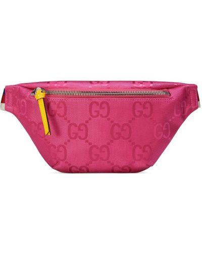 Нейлоновая розовая поясная сумка на молнии Gucci Kids