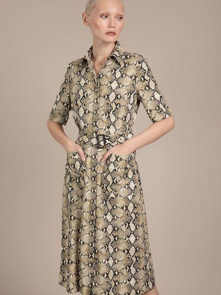 Платье с поясом платье-рубашка из искусственной кожи Vassa&co