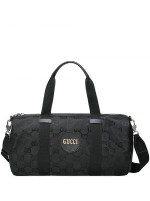Дорожная сумка из экокожи - черная Gucci