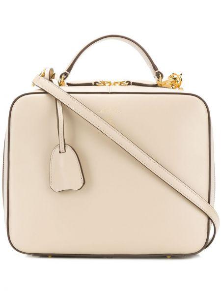 Кожаная золотистая сумка-тоут двусторонняя на молнии Mark Cross