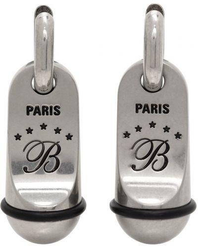 Kolczyki sztyfty srebrne - czarne Balenciaga