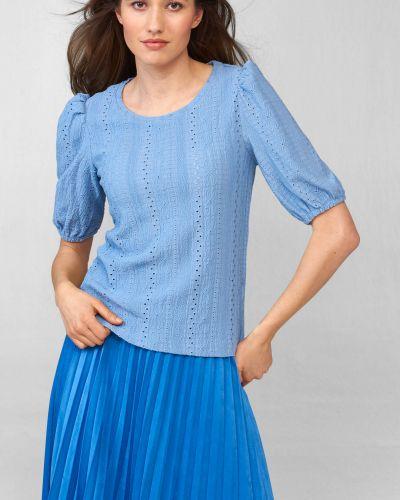 Niebieski t-shirt z dekoltem okrągły Orsay