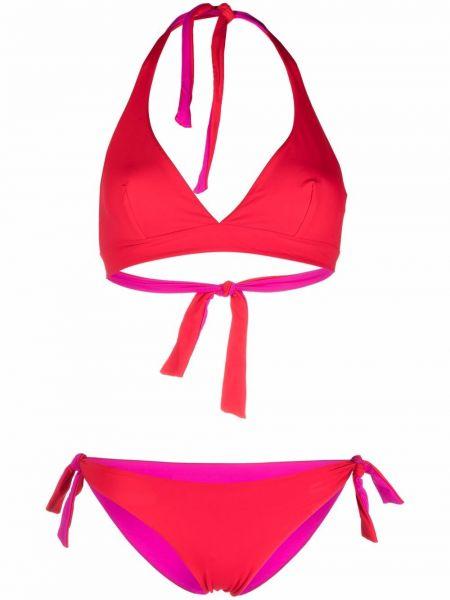 Czerwony bikini z dekoltem w serek Fisico