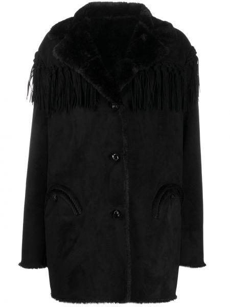 Однобортное черное длинное пальто из искусственного меха Blazé Milano