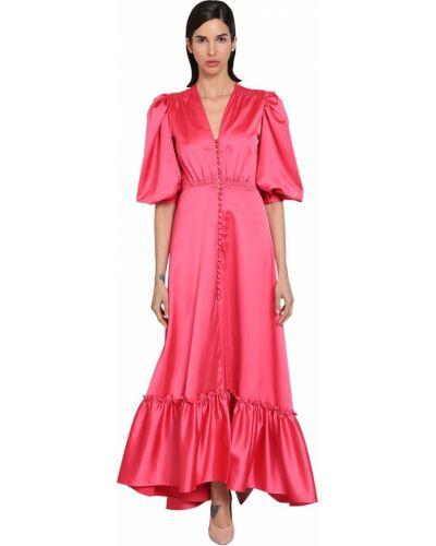 Приталенное розовое платье макси с декольте Luisa Beccaria