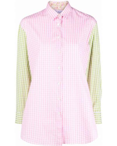 Розовая классическая рубашка с воротником с вышивкой Mc2 Saint Barth