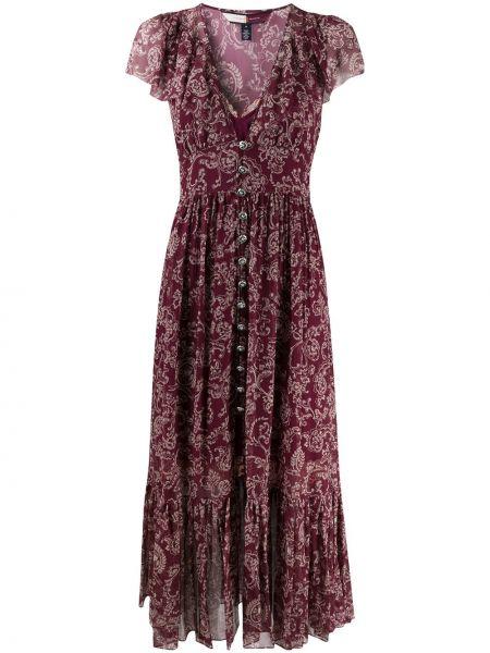 Красное шелковое платье макси с вышивкой с V-образным вырезом Hilfiger Collection