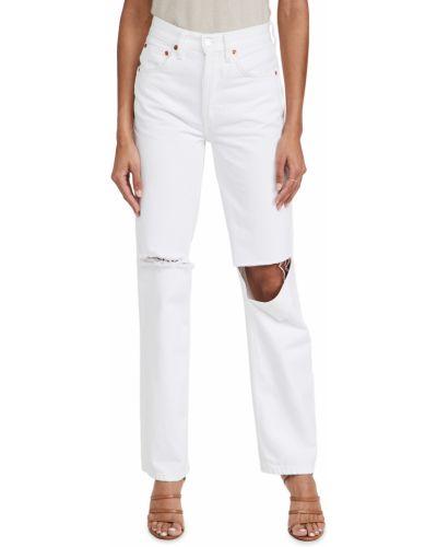 Białe jeansy z wysokim stanem bawełniane Re/done