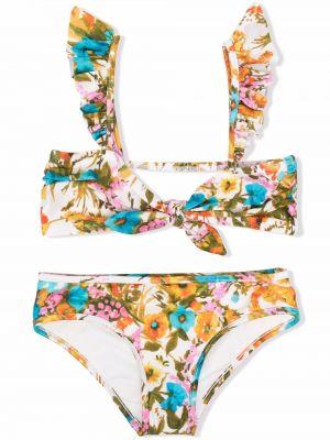 Biały bikini w kwiaty bez rękawów Zimmermann Kids