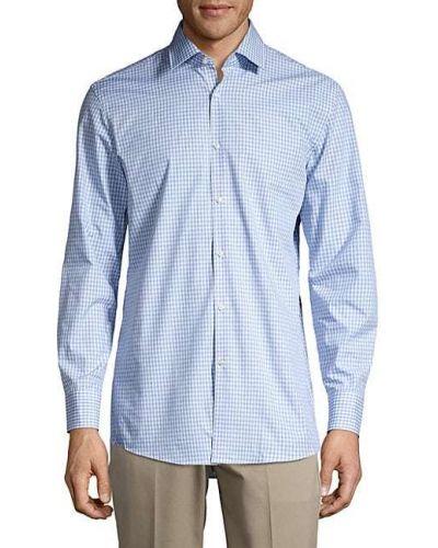 Синяя с рукавами рубашка в клетку Boss Hugo Boss