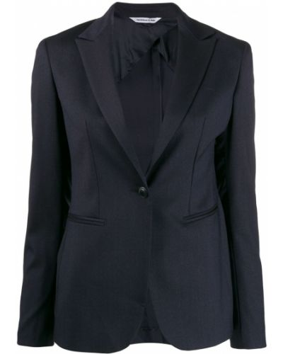 Приталенный синий классический пиджак с карманами Tonello