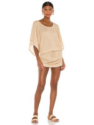 Пляжное бежевое платье с оборками Luli Fama