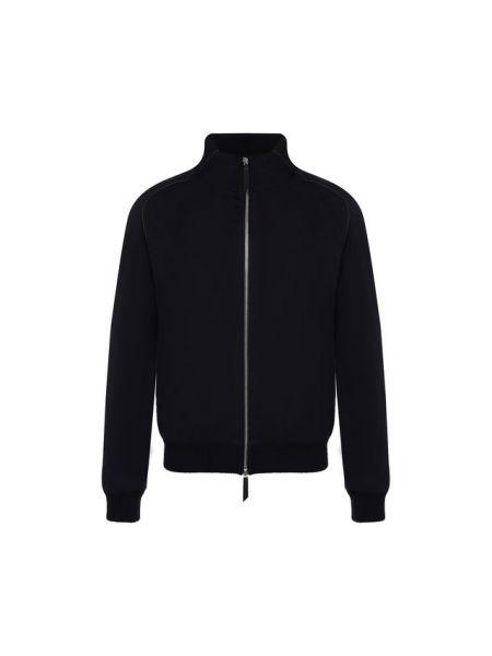 Кожаная куртка с воротником - синяя Andrea Campagna