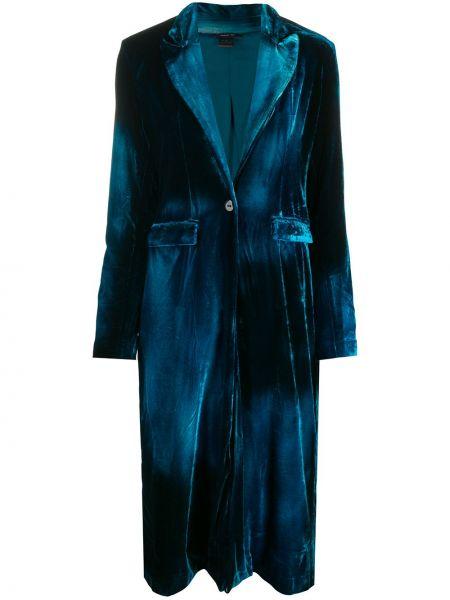 Синее бархатное пальто классическое на пуговицах с лацканами Avant Toi