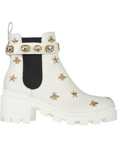 Кожаные ботинки - белые Gucci