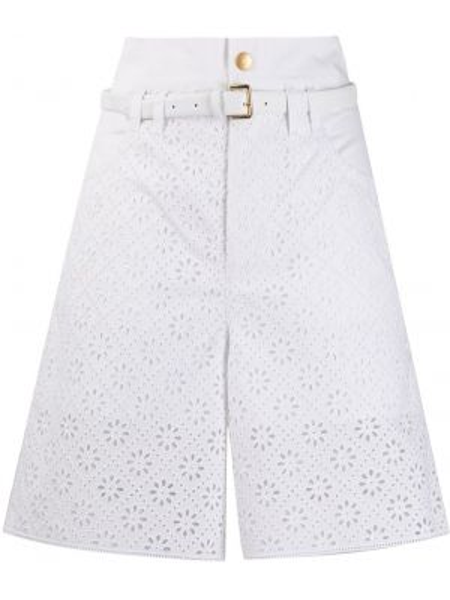 Хлопковые белые шорты с поясом Philosophy Di Lorenzo Serafini