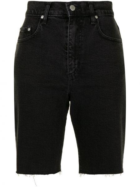 С завышенной талией хлопковые черные джинсовые шорты Nobody Denim