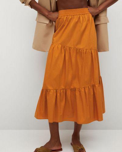 Pomarańczowa spódnica midi rozkloszowana bawełniana Mango