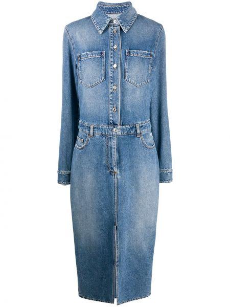 Синее классическое джинсовое платье на пуговицах с воротником Msgm