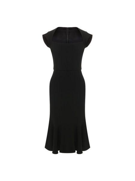 Вечернее платье с оборками черное Dolce & Gabbana