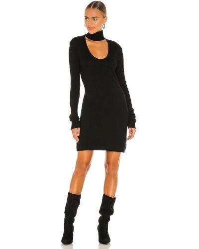 Шерстяное черное платье с декольте Pam & Gela