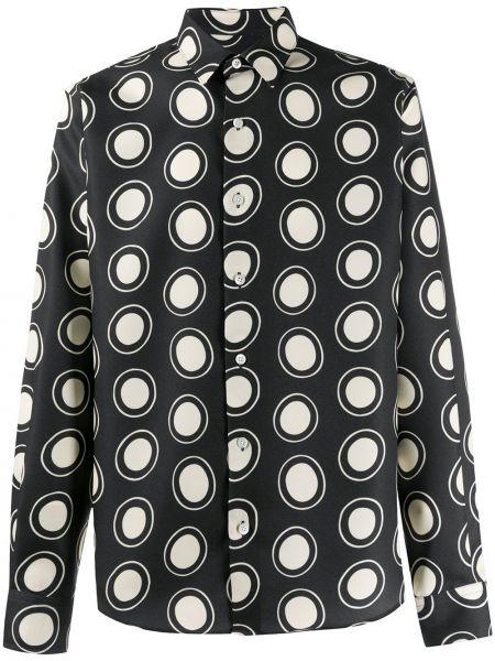 Czarna koszula z długimi rękawami z wiskozy Ami