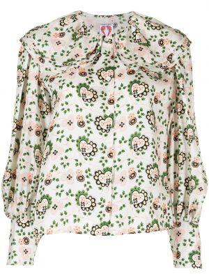 Zielona bluzka z długimi rękawami z jedwabiu Shrimps
