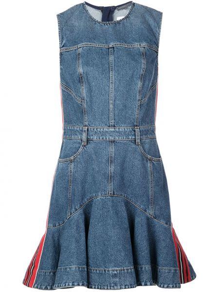 Синее джинсовое платье с поясом без рукавов Alexander Mcqueen