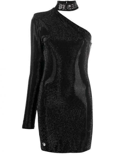 Облегающее платье черное с рукавами Philipp Plein