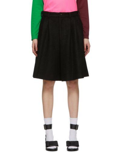 Шерстяные черные шорты с карманами Comme Des Garçons