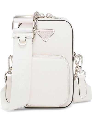Biała torebka na łańcuszku skórzana Prada