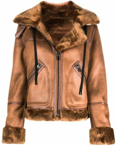 Коричневая прямая куртка на молнии с воротником Urbancode