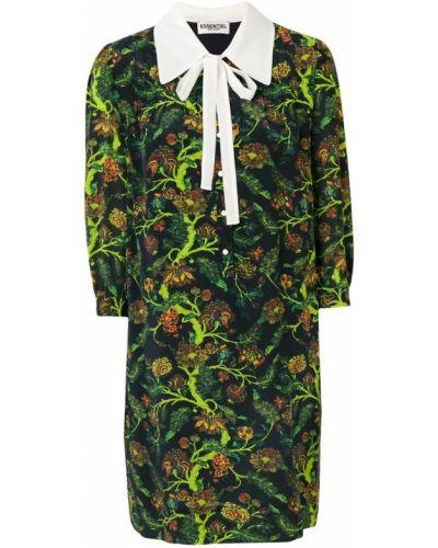 Вязаное платье с цветочным принтом с бантом льняное Essentiel Antwerp