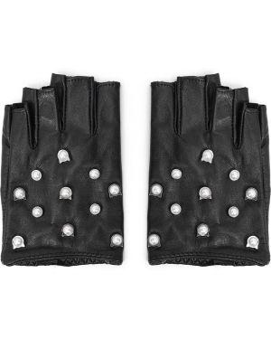 Перчатки без пальцев кожаные эластичные Karl Lagerfeld