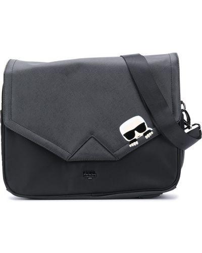 Черная сумка на плечо на молнии металлическая Karl Lagerfeld Kids