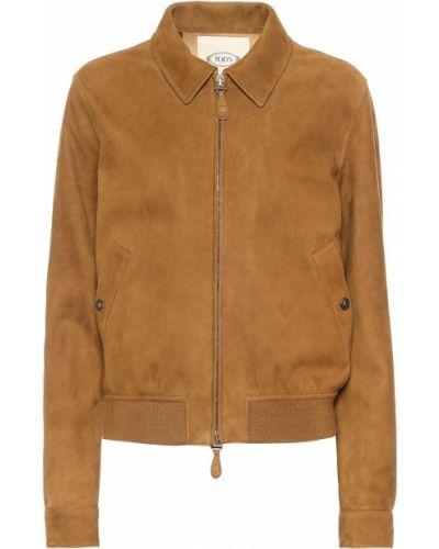 Замшевая коричневая куртка Tod's