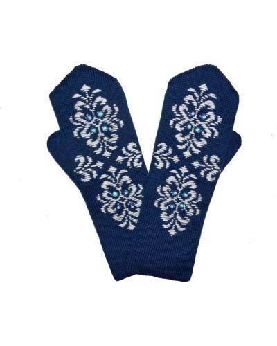 Варежки с вышивкой синий Lacywear