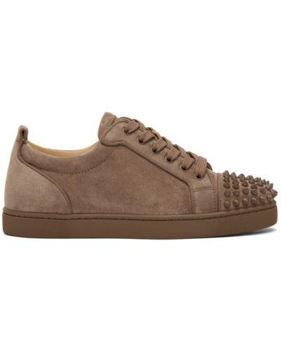 Brązowe sneakersy zamszowe na obcasie Christian Louboutin