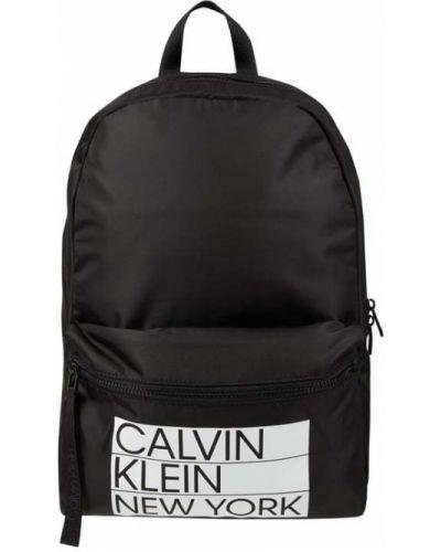 Czarny plecak na laptopa materiałowy w paski Ck Calvin Klein