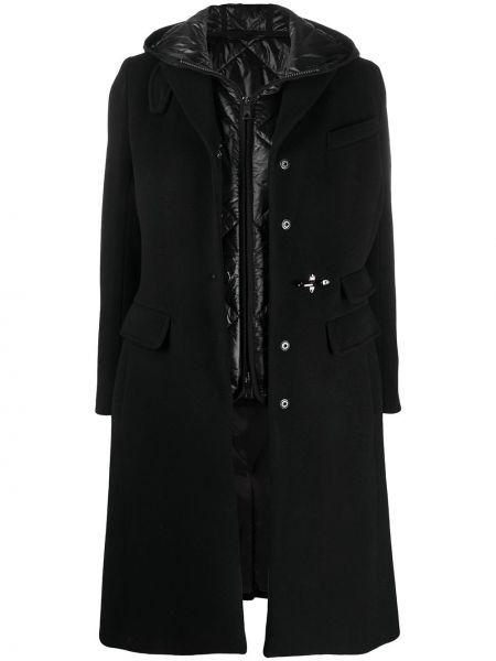 Однобортное шерстяное черное пальто классическое с капюшоном Fay